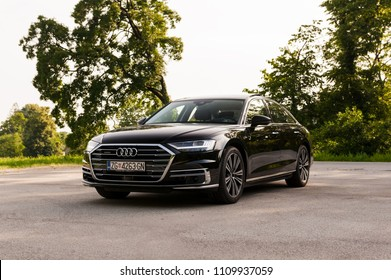 ZAGREB, CROATIA - MAY 23, 2018: New 2018 Audi A8 50 TDI quattro  on city streets.
