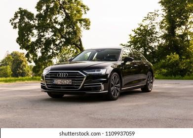 ZAGREB, CROATIA - MAY 23, 2018: New 2018 Audi A8 50 TDI quattro  on city streets.