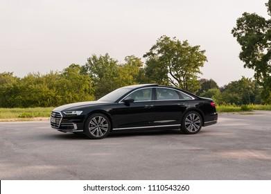 ZAGREB, CROATIA - MAY 23, 2018: New 2018 Audi A8 50 TDI quattro on the street.