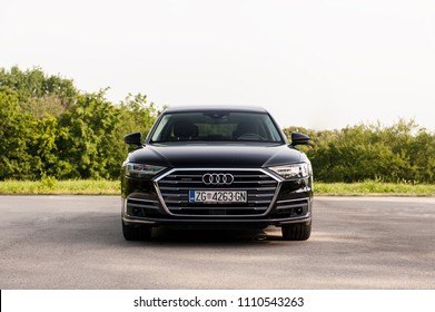 ZAGREB, CROATIA - MAY 23, 2018: New 2018 Audi A8 50 TDI quattro front view with led lights.