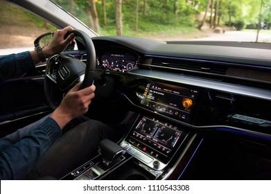 ZAGREB, CROATIA - MAY 23, 2018: New 2018 Audi A8 50 TDI quattro interior dashboard.