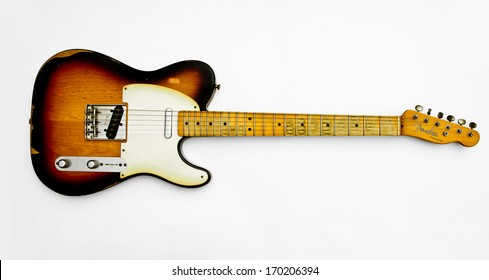 ZAGREB , CROATIA - MAY 27, 2010 : old vintage wooden Fender telecaster guitar on white background , product shot