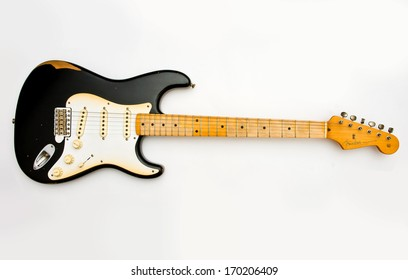 ZAGREB , CROATIA - MAY 27, 2010 : Black Fender stratocaster guitar on white background , product shot