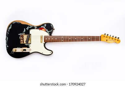 ZAGREB , CROATIA - MAY 27 ,2010 : fender telecaster wooden electric guitar on white background , product shot