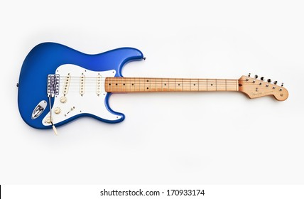 ZAGREB , CROATIA - MAY 27 ,2010 : fender stratocaster blue electric guitar on white background , product shot