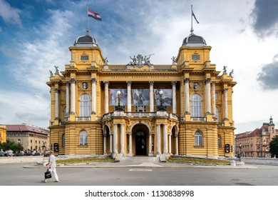 ZAGREB, CROATIA - MAY 27, 2018: People in front of Croatian National Theater.