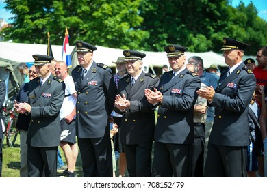 ZAGREB, CROATIA - MAY 28, 2017 : Croatian general Mate Ostovic and brigadier Sinisa Jurkovic on the 26th anniversary of the formation of the Croatian Armed Forces on Lake Jarun in Zagreb, Croatia.