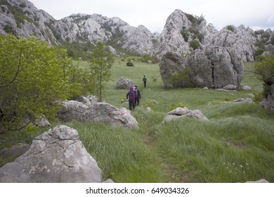 ZAGREB, CROATIA - MAY 29, 2017. - Tulove grede (part of Velebit mountain in Croatia) hiking