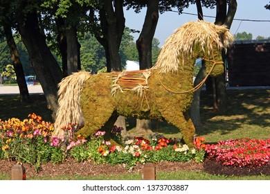 ZAGREB, CROATIA - MAY 29, 2018: A straw horse, garden sculpture, Floraart 53. International Garden Exhibition, Zagreb, Croatia