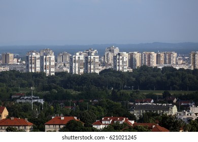 ZAGREB, CROATIA - MAY 31: Aerial view of Zagreb, southern part panorama in bright sunny day, Zagreb, Croatia on May 31, 2015.