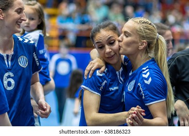 ZAGREB, CROATIA - MAY 7, 2017: Finals of EHF Challenge Cup Lokomotiva vs. Hoors. Players kissing each other