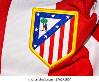 ZAGREB , CROATIA - May 7th , 2015 : Spain football club Atletico Madrid sign on game jersey   ,product shot