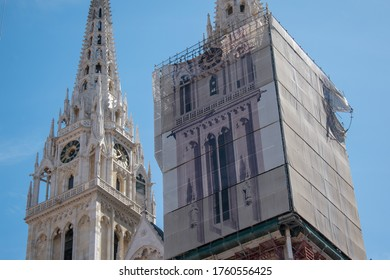 Zagreb, Croatia - May 8, 2020: - In earthquake damaged Zagreb cathedral towers and crane.