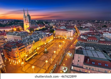 Zagreb Croatia at Night. Zagreb Aerial View from above of Ban Jelacic Square