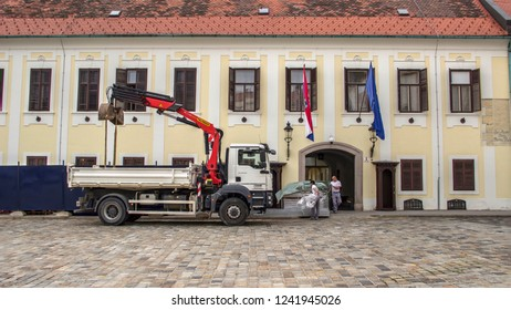 Zagreb, Croatia, November 05, 2018: Works on reconstruction of the Banski Dvori Palace, seat of the Croatian Government, at the St. Mark's Square