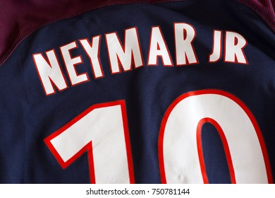 ZAGREB, CROATIA - NOVEMBER 08, 2017. - Brazilian football player Neymar da Silva Santos Júnior Paris Saint-Germain jersey.
