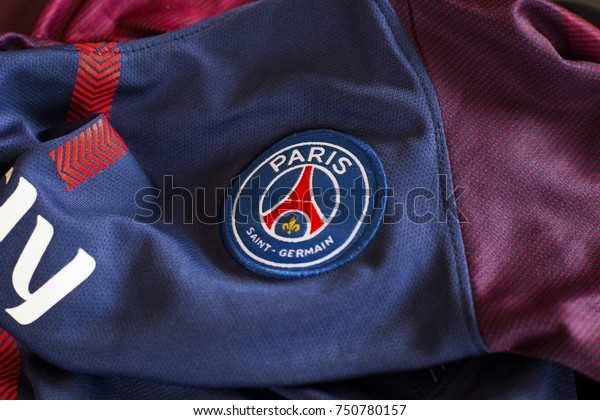 ZAGREB, CROATIA - NOVEMBER 08, 2017. - French football club Paris Saint-Germain emblem on jersey.
