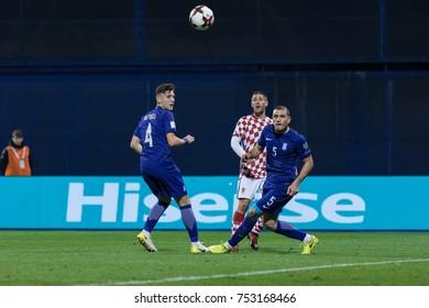 ZAGREB, CROATIA - NOVEMBER 09, 2017: European qualifier for 2018 FIFA World Cup Russia. Croatia vs Greece. Andrej KRAMARIC (9), Kyriakos PAPADOPOULOS (5) and Panagiotis RETSOS (4) in action
