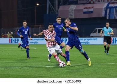ZAGREB, CROATIA - NOVEMBER 09, 2017: European qualifier for 2018 FIFA World Cup Russia. Croatia vs Greece. Nikola KALINIC (16) and Kyriakos PAPADOPOULOS (5) in duel