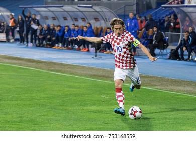 ZAGREB, CROATIA - NOVEMBER 09, 2017: European qualifier for 2018 FIFA World Cup Russia. Croatia vs Greece. Luka MODRIC (10) with ball in action