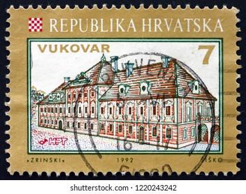 ZAGREB, CROATIA - NOVEMBER 1, 2018: a stamp printed in Croatia shows view of Eltz Castle, Vukovar, Croatian City, circa 1993