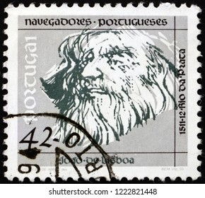 ZAGREB, CROATIA - NOVEMBER 1, 2018: a stamp printed in the Portugal shows Joao de Lisboa, Portuguese Navigator and Explorer, circa 1993