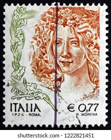 ZAGREB, CROATIA - NOVEMBER 1, 2018: a stamp printed in the Italy shows Primavera, Detail of painting by Botticelli, circa 2003