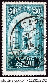 ZAGREB, CROATIA - NOVEMBER 1, 2018: a stamp printed in French Morocco shows City Gate, Chella, circa 1927