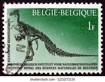 ZAGREB, CROATIA - NOVEMBER 1, 2018: a stamp printed in Belgium shows Iguanodon, Natural Science Institute, circa 1966