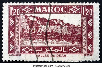 ZAGREB, CROATIA - NOVEMBER 1, 2018: a stamp printed in French Morocco shows Valley of Draa, circa 1942