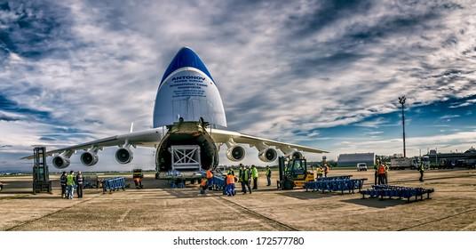 ZAGREB, CROATIA - NOVEMBER 10: Loading heavy weight cargo to the Antonov 225 Mriya airplane shoot as HDR on November 10, 2013 Zagreb, Croatia. It is the biggest airplane in the world.