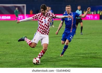 ZAGREB, CROATIA - NOVEMBER 12, 2016: FIFA World Cup 2018 Qualifiers Group I - Croatia VS Iceland. Vedran CORLUKA (5) and Jon DADI BODVARSSON (22)