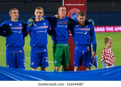 ZAGREB, CROATIA - NOVEMBER 12, 2016: FIFA World Cup 2018 Qualifiers Group I - Croatia VS Iceland. Iceland players during national anthem.
