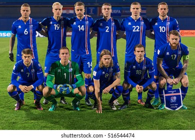 ZAGREB, CROATIA - NOVEMBER 12, 2016: FIFA World Cup 2018 Qualifiers Group I - Croatia VS Iceland. Iceland players posing before the match.