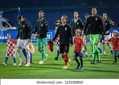 ZAGREB, CROATIA - NOVEMBER 15, 2018: UEFA Nations League football match Croatia vs. Spain. Players entering the playing field