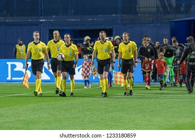 ZAGREB, CROATIA - NOVEMBER 15, 2018: UEFA Nations League football match Croatia vs. Spain. Players entering the playing field
