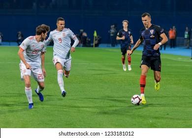 ZAGREB, CROATIA - NOVEMBER 15, 2018: UEFA Nations League football match Croatia vs. Spain. In action Ivan Perisic (4), Diego Llorente(20) and Rodrigo (9)