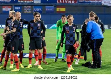 ZAGREB, CROATIA - NOVEMBER 15, 2018: UEFA Nations League football match Croatia vs. Spain. Croatia players lineup