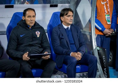 ZAGREB, CROATIA - NOVEMBER 15, 2018: UEFA Nations League football match Croatia vs. Spain. Zlatko Dalic (Coach)