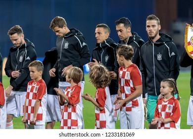 ZAGREB, CROATIA - NOVEMBER 15, 2018: UEFA Nations League football match Croatia vs. Spain. Spain players lineup