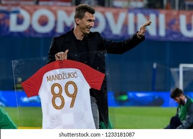 ZAGREB, CROATIA - NOVEMBER 15, 2018: UEFA Nations League football match Croatia vs. Spain. Mario Mandukic