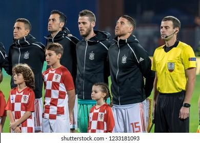 ZAGREB, CROATIA - NOVEMBER 15, 2018: UEFA Nations League football match Croatia vs. Spain. Spain players lineup. Sergio Ramos (15)
