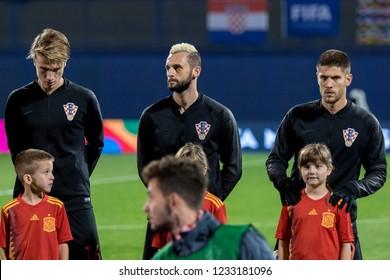 ZAGREB, CROATIA - NOVEMBER 15, 2018: UEFA Nations League football match Croatia vs. Spain. Tin Jedvaj (16), Marcelo Brozovic (11) and Andrej Kramaric (9)