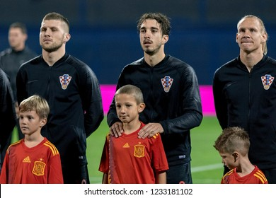 ZAGREB, CROATIA - NOVEMBER 15, 2018: UEFA Nations League football match Croatia vs. Spain. Ante Rebic (18), Sime Vrsaljko (2) and Domagoj Vida (21)