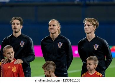 ZAGREB, CROATIA - NOVEMBER 15, 2018: UEFA Nations League football match Croatia vs. Spain. Sime Vrsaljko (2), Domagoj Vida (21) and Tin Jedvaj (16)