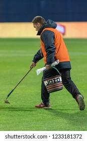 ZAGREB, CROATIA - NOVEMBER 15, 2018: UEFA Nations League football match Croatia vs. Spain. Jozo reparing the playing field