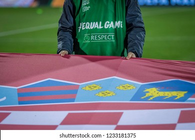 ZAGREB, CROATIA - NOVEMBER 15, 2018: UEFA Nations League football match Croatia vs. Spain. Equal Game logo on shirt, and part of Croatian flag