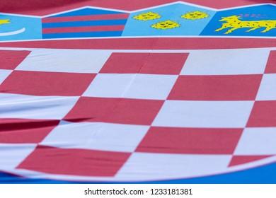 ZAGREB, CROATIA - NOVEMBER 15, 2018: UEFA Nations League football match Croatia vs. Spain. Croatian flag
