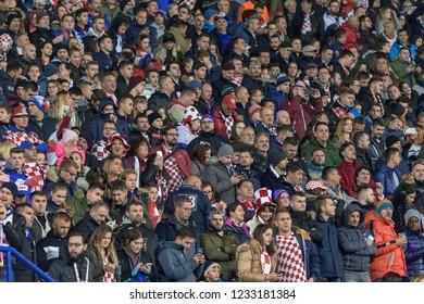ZAGREB, CROATIA - NOVEMBER 15, 2018: UEFA Nations League football match Croatia vs. Spain. Spectators on tribune