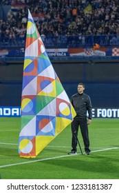 ZAGREB, CROATIA - NOVEMBER 15, 2018: UEFA Nations League football match Croatia vs. Spain. Man holding Nations League flag